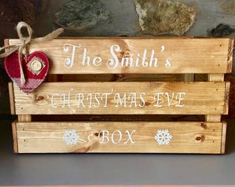 Family Christmas Eve Box - Rustic Christmas Eve Box - Couple Christmas Eve Crate - Personalised Crate - Rustic Christmas -