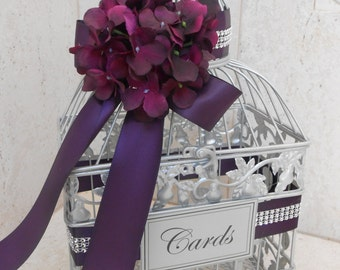 Silver Wedding Birdcage Card Box | Wedding Card Holder | Silver Birdcage | Purple Wedding | Wedding Decor | Cardbox