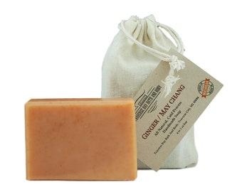 Ginger and May Chang, all natural handmade soap, Cold process vegan soap