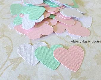 Heart Confetti, Pink Spearmint White, Baby Shower, Wedding Decor, Bridal Shower, 1st Birthday Ideas, Small Hearts Die Cut 1 inch, Set of 150