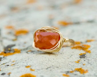 Gold Gemstone Statement Ring| Carnelian Ring| Gold Nest Ring| Unique Gift For Her