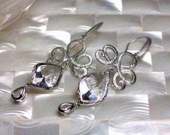 Long Earrings, Cubic Zirconia Earrings, Silver Earrings, Drop Earrings, Dangle Earrings, Fashion Earrings, Wedding Jewelry