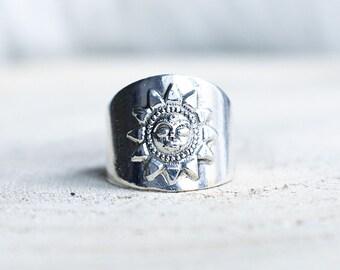 925 Sterling Silver sun goddess statement thumb ring boho jewellery bohemian jewelry