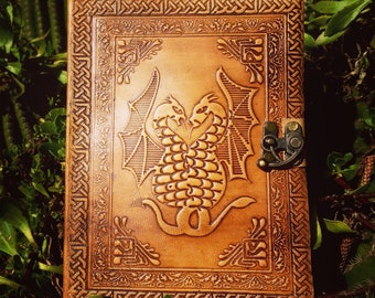 Leather Journal – Two Dragons Notebook – Leather Medieval Journal - Rustic Blank Book  - Leather Travel Book - Leather Handmade Notebook