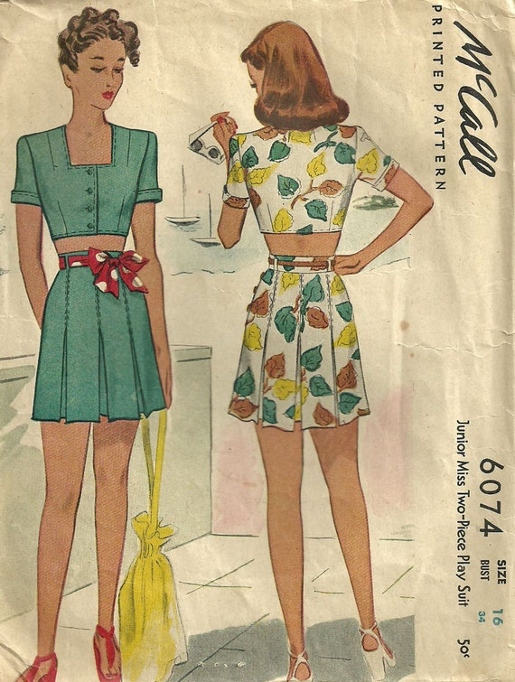 McCall 6074 Vintage 40s Sewing Pattern // Shorts Playsuit