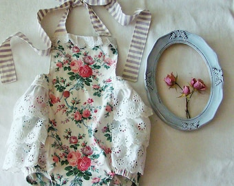 Vintage Rose Ruffle Romper for NB, Baby Girl to  18M  Choose size