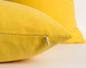 Solid Yellow Pillowcase CUSTOM SIZES Decorative Pillow Solid Pillow Cover Yellow Housewares Home Decor Cushions Linen Pillow Cover