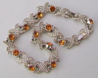 Amber Glass Stones Claw Set in Silver Tone Panel Bracelet