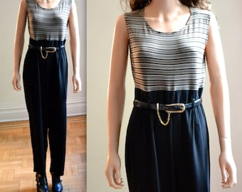 90s Vintage Jumpsuit Size Large Striped Black and Tan// Vintage Black Jumpsuit Pantsuit in Large