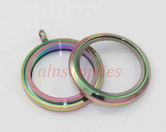 Rainbow Stainless Steel Living Round Locket, Twist Glass floating locket, Living Floating Memory Lockets, 30mm