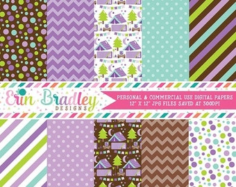 80% OFF SALE Camping Digital Papers Purple Polka Dots Chevron & Stripes Patterns Personal and Commercial Use Glamping Digital Papers
