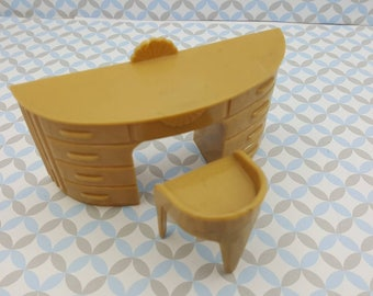Plasco Vanity with Stool Tan Toy Dollhouse Traditional Style 1944  MCM retro