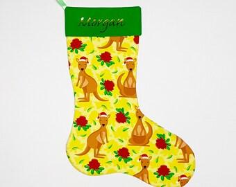 Personalised Australian christmas stocking, personalised christmas stocking, mantle decor, kangaroo stocking, australian print, custom.