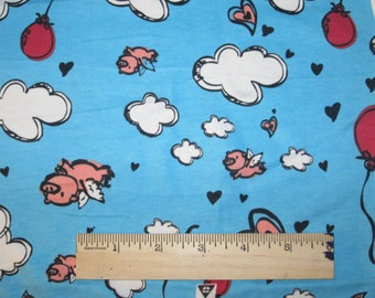Adorable Flying Pigs Cotton Lycra KNit Fabric  on Turquoise Blue