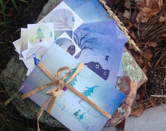 Postcards and Stickers. Receive or send to someone special a magical envelope with postcards and stickers!