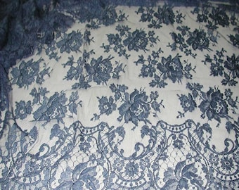 "No. 300 DENIM BLUE French Solstiss Chantilly Lace, Dbl Scallop, 53"" x 5.5 Yards"