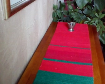 Christmas Table Runner Handwoven Cotton Red Green