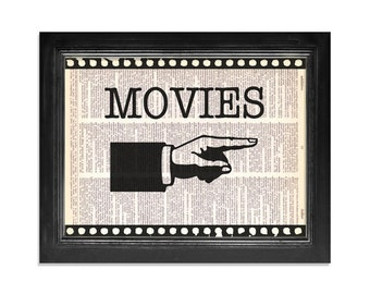 Movies This Way - Printed on Vintage Dictionary Paper - 8x10.5 - Dictionary Art Print