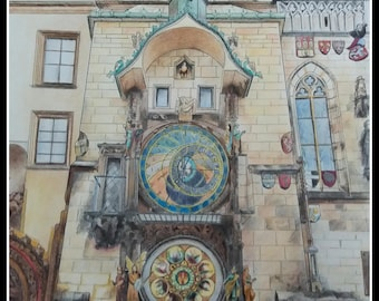 Prague art coloredpencil original, Prague art original, astronomical clock Prague, wall art / dibujo Praga, Reloj astronómico de Praga, arte