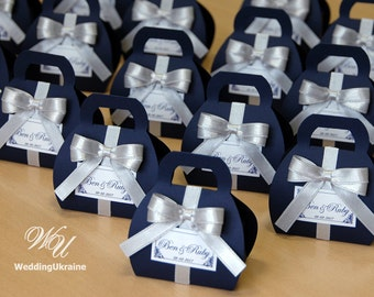 White navy blue wedding bonbonniere wedding favor boxes navy blue wedding bonbonniere custom personalized wedding favor candy boxe with silver satin bow and junglespirit Images