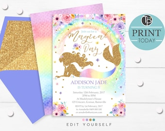 RAINBOW MERMAID INVITATIONS, Instant Download, Rainbow Mermaid Party Invitation, Rainbow Mermaid Birthday Invitation, Editable Mermaid, 0213