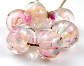 Pink Incantation Encased SRA Lampwork Handmade Artisan Glass Donut/Round Beads Made to Order Set of 6 10x15mm