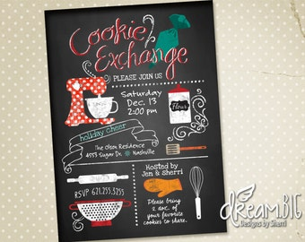Christmas Cookie Exchange Party Invite // Chalkboard Theme // Holiday Cookie Party // Printable - PDF