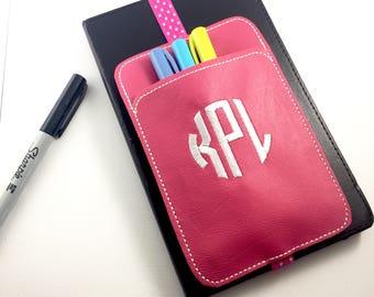 Pen Holder planner band -Monogram - planner bullet journal accessories -best gifts for her