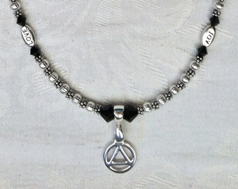 Silver AA Necklace with Love, Joy, Faith and Hope Beads and Black Swarovski Crystals