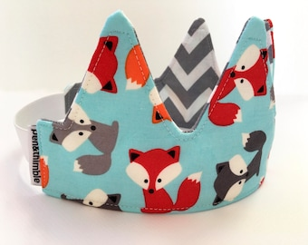 Fox Crown (Woodland Birthday Crown, Crown Headband, Reversible Crown, Unisex Birthday Gift Idea, Waldorf Toys, Cloth Crown, Elastic Band)