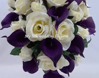 Ivory, Purple, Violet, Roses, Real Touch, Calla lilies, Silk, Wedding, Bridal, Cascade, Bouquet