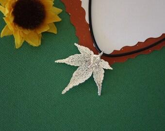 SALE Leaf Necklace, Silver Maple Leaf, Real Japanese Maple Leaf Necklace, Silver Maple Leaf Pendant, SALE11