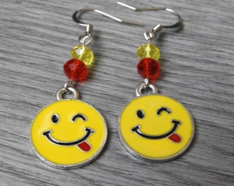 Winking Emoji Earrings - Funny Face Earrings - Emoji Tongue Sticking Out - Happy Face Earrings - Smiling Face Earrings - Emoji Jewelry