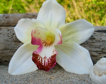 Orchid Flower Hair Clip,Weddings, Beach Destination Weddings, White Orchid,Vacations,Tropical Flowers,Hawaiian,Paradise, Floral Hair Clip,