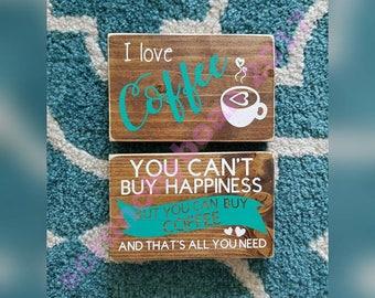 Mini Coffee Bar Signs. Cute coffee bar decor. Wood sign for shelf. Painted wood sign. Love coffee. Wood house decor. Coffee gift. mini sign