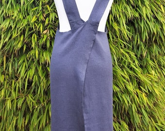 Linen Cross Back Apron Japanese Apron Artist Smock Japanische Schürze Tablier Japonais Delantal Japonés 日本のエプロン Asphalt Grey Size S - XXL