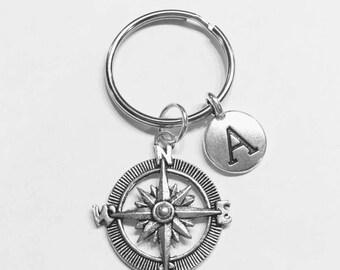 Initial Keychain, Best Friend Gift, Best Friend Keychain, Compass Nautical Keychain, Sister Gift, Daughter Initial, Keychain