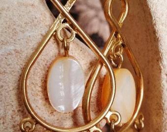 Clearance Sale - Amber Shell and Swarovski Earrings