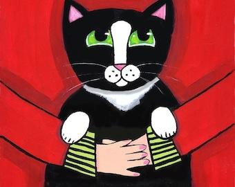 Muriel and her Tuxedo Cat Shelagh Duffett print