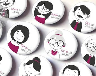 """Set of 10 personalized """"family members"""" Badges - for a small personalized wedding gift"""