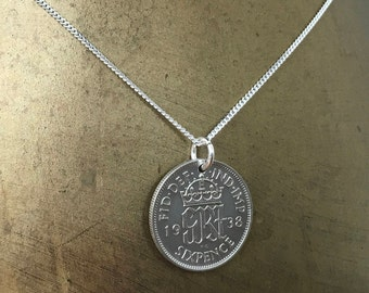 80th birthday gift, 1938 British Sixpence necklace, sterling silver chain, UK coin pendant, English vintage, England, present for her woman