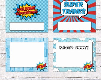 4 DIY Signs for Superhero Party. Customize Yourself -  Signs for Superhero Birthday Party. Superhero Party Decor. *INSTANT DOWNLOAD*