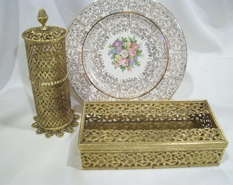 Gold Filigree Metal Tissue Box or Hairspray Keeper Made by Stylebuilt Accessories Vanity Bath Boudoir Decor Hollywood Regency