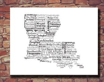 Louisiana Print, Louisiana Map, Decor, New Orleans, The Big Easy, Mardi Gras, Personalized, Print, Cities, Housewarming Gift, Travel Map