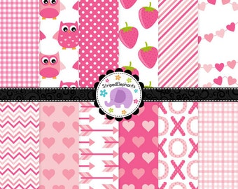 Valentine's Day Digital Paper Pack Pink, Romantic Digital Scrapbook Paper, Cute Valentines Digital Paper, Commercial Use