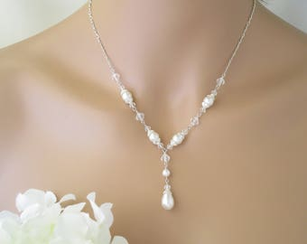 Pearl necklace, Classic Y wedding necklace, Pearl teardrop bridal necklace, Vintage style necklace, Swarovski crystal and pearl necklace