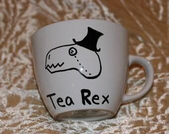 Tea Rex Top hat Dinosaur Dinasour Custom Coffee Mug Steampunk Present Gift for Hostess Friend or Teacher