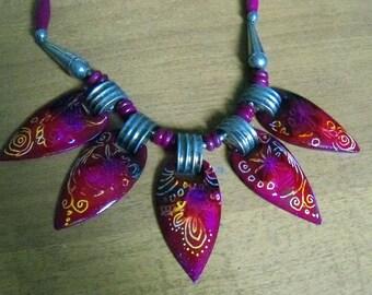 bright color tribal chocker necklace alcohol ink zentangle design