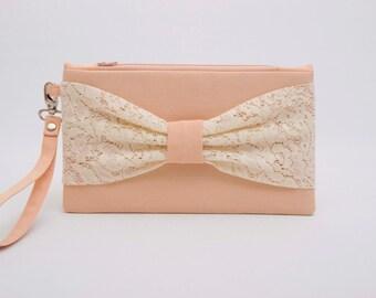 Sale -bridesmaid clutch ,wedding clutch ,Peach bow clutch wristlet clutch ,lace clutch,bridesmaid clutch  ,make up bag,cosmetic bag