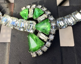 Rhinestone Necklace Green and Clear Vintage 7 1/2""